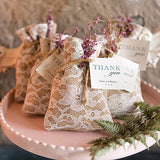 Rustic Chic Burlap And Lace Drawstring Favour Bag (12 pk)
