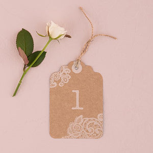 Large Kraft Tag With Vintage Lace White Print Numbers (12 pk)
