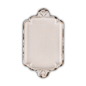 Antique White Miniature Metal Ring Tray