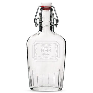 Personalised Clear Glass Hip Flask Gem Etching