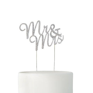 Crystal Rhinestone Mr & Mrs Cake Topper - Silver