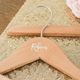 Personalised Wooden Wedding Hanger - Calligraphic Name Printing