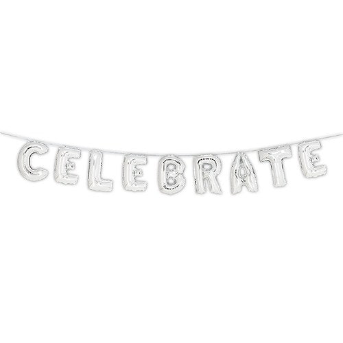 Celebrate Silver Foil Balloon Decoration