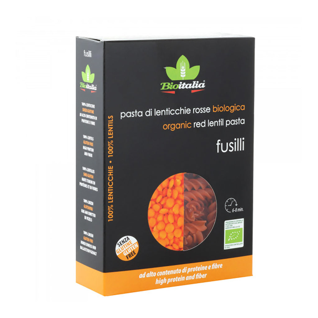 Gluten Free Fusilli with Organic Red Lentils 250 g by Bioitalia