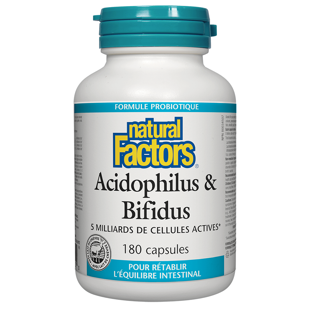 Acidophilus & Bifidus 5 Milliards 180 capsules Natural Factors