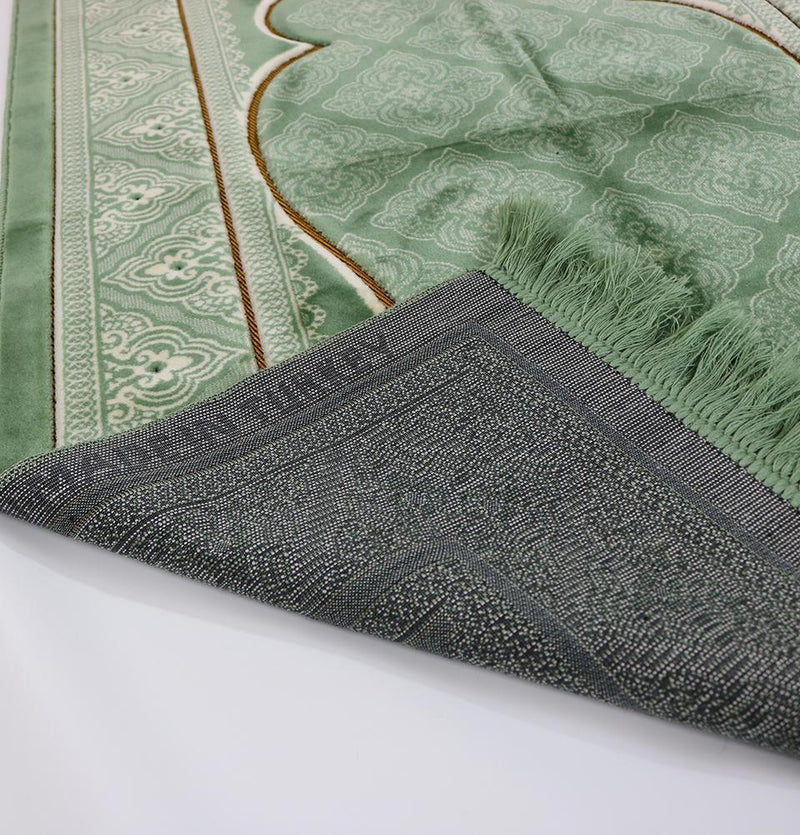 Double Plush Wide Extra Large Prayer Rug - Green - east-west-souk