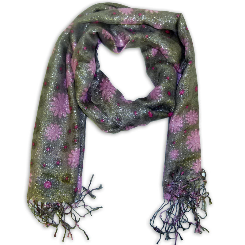 Women's Fancy Floral Printed Scarf Wrap Shawl with Fringes