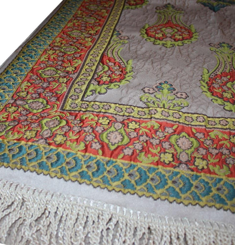 Large Wide Luxury Embroidered Islamic Prayer Mat Gift Box Set 'Jacobean' Tulip- Orange / Green - east-west-souk