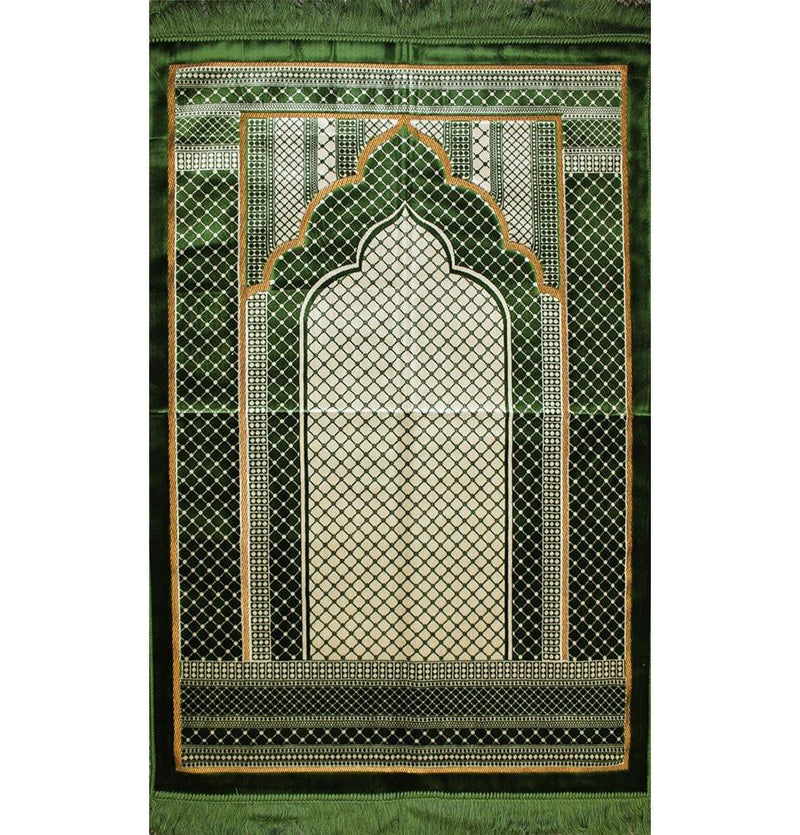 Velvet Wide Large Islamic Prayer Rug Geometric (Green)