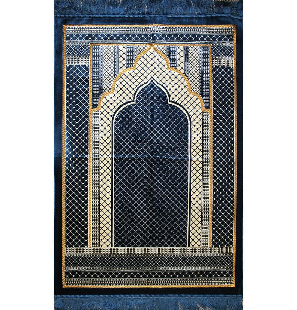 Velvet Wide Large Islamic Prayer Rug Geometric (Blue)