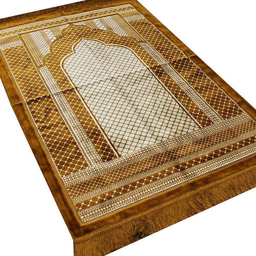 Velvet Wide Large Islamic Prayer Rug Geometric (Gold) - east-west-souk