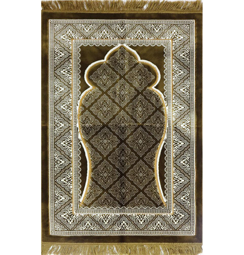 Double Plush Wide Extra Large Prayer Rug - Brown - east-west-souk