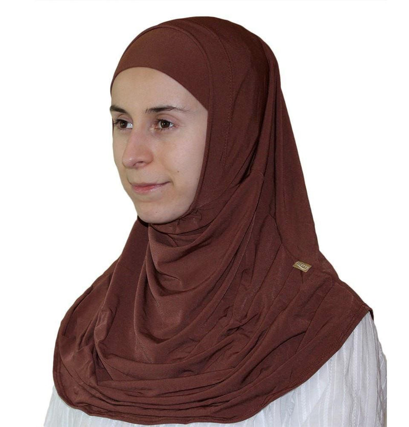 Firdevs Practical Scarf & Bonnet - Brown - east-west-souk