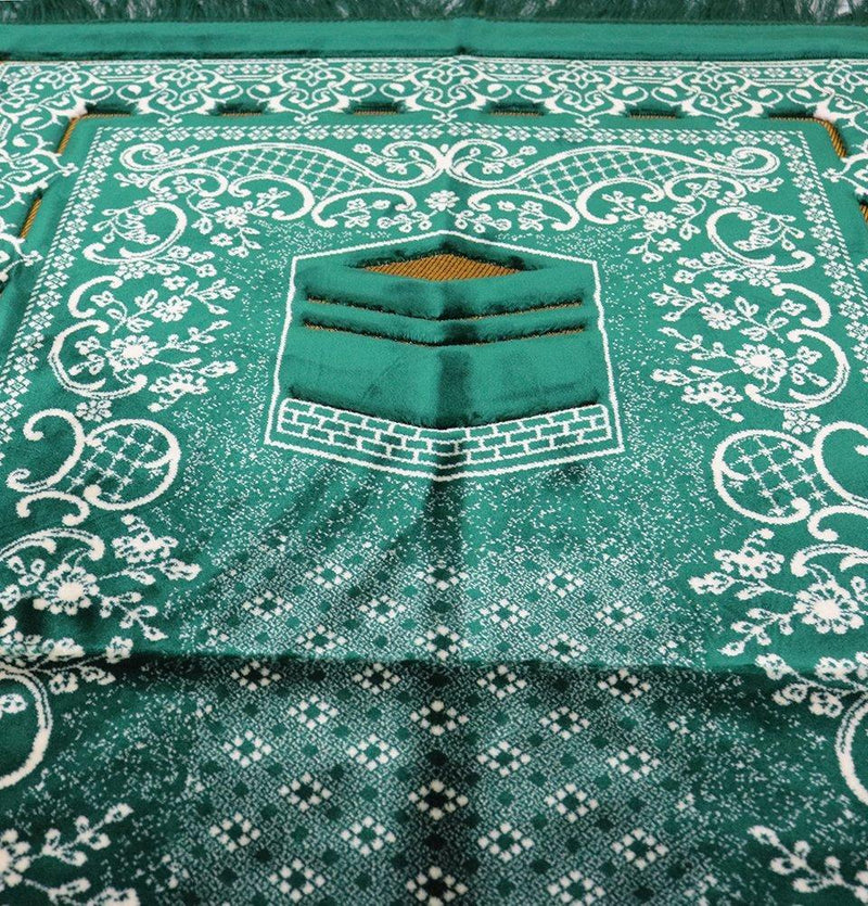 Double Plush Wide Extra Large Prayer Rug - Dark Green - east-west-souk