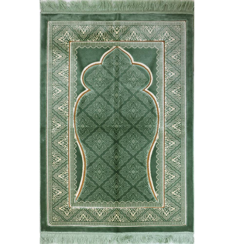 Double Plush Wide Extra Large Prayer Rug - Green