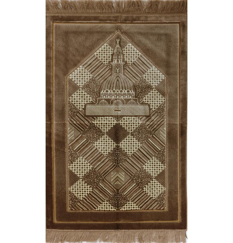Lux Plush Regal Prayer Rug (Brown) - east-west-souk