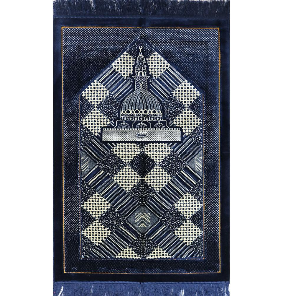 Lux Plush Regal Prayer Rug - Blue - east-west-souk