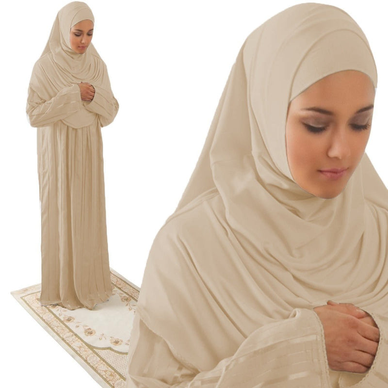 Amade Women's One-Piece Prayer Dress Beige Abaya Gift Set - east-west-souk
