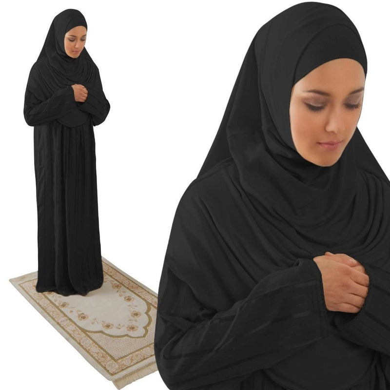 Amade Women's One-Piece Prayer Dress Black Abaya Gift Set - east-west-souk