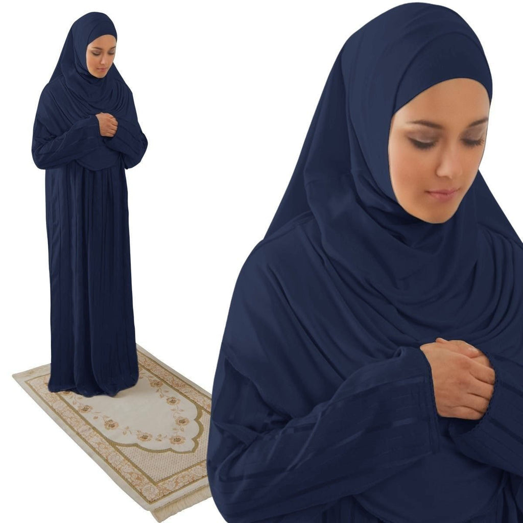Amade Women's One-Piece Prayer Dress Navy Blue Abaya Gift Set - east-west-souk