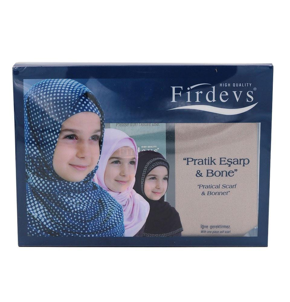 Firdevs Girl's Practical Hijab Scarf  Bonnet - Mink Brown - east-west-souk