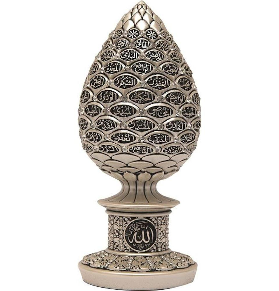 Islamic Table Decor Mother of Pearl Egg - 99 Names of Allah - east-west-souk