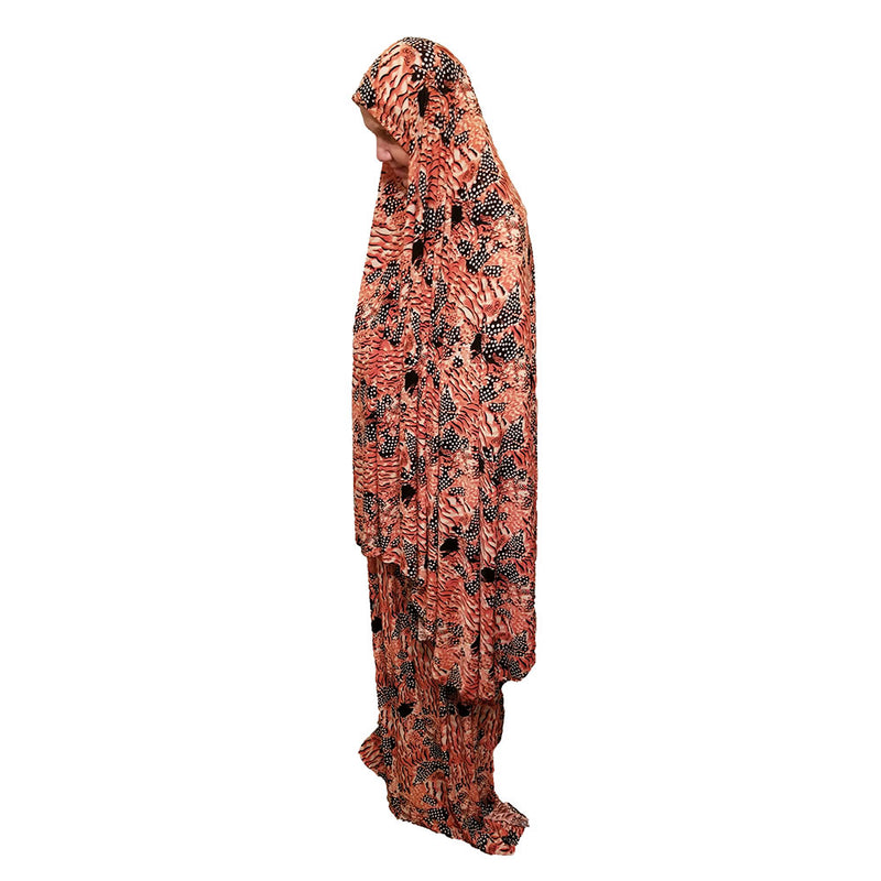 Women's Prayer Dress 2 Pieces (Without Sleeves) - Orange and Black Printed Design