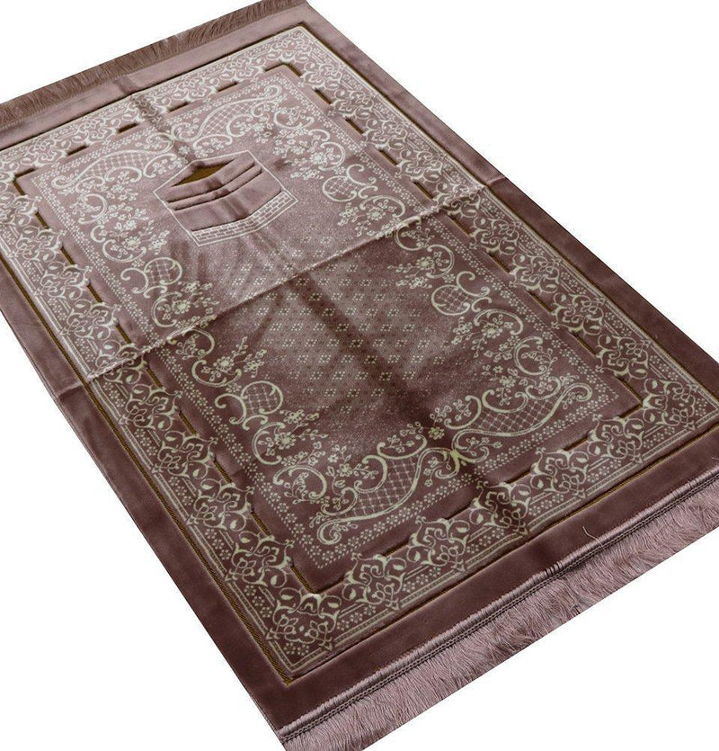 Double Plush Wide Extra Large Prayer Rug - Rose Pink - east-west-souk
