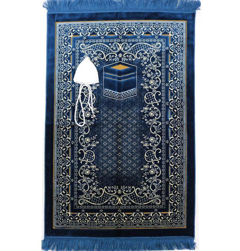 Double Plush Wide Extra Large Prayer Rug - Blue - east-west-souk