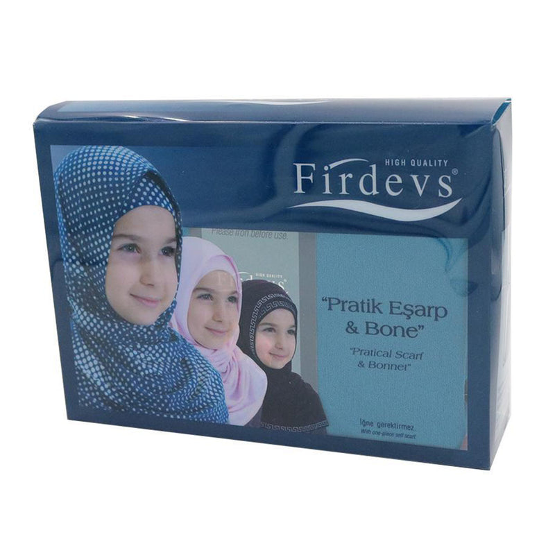 Firdevs Girl's Practical Hijab Scarf  Bonnet - Teal Blue