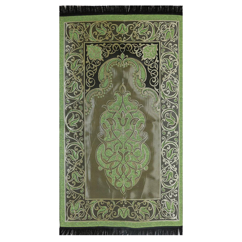 Taffeta Fleur Islamic Prayer Mat - Green