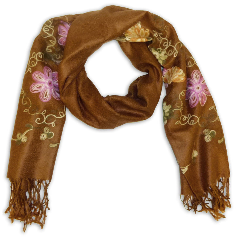 Women's Pashmina Embroidery Scarf Wrap Shawl with Fringes