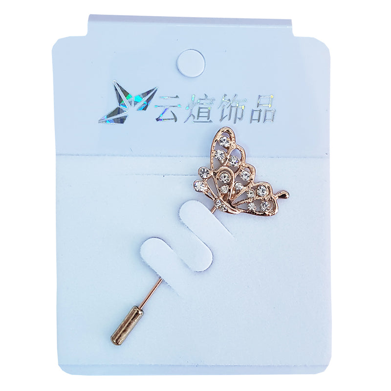 Strassed Butterfly Hijab Pin-Gold
