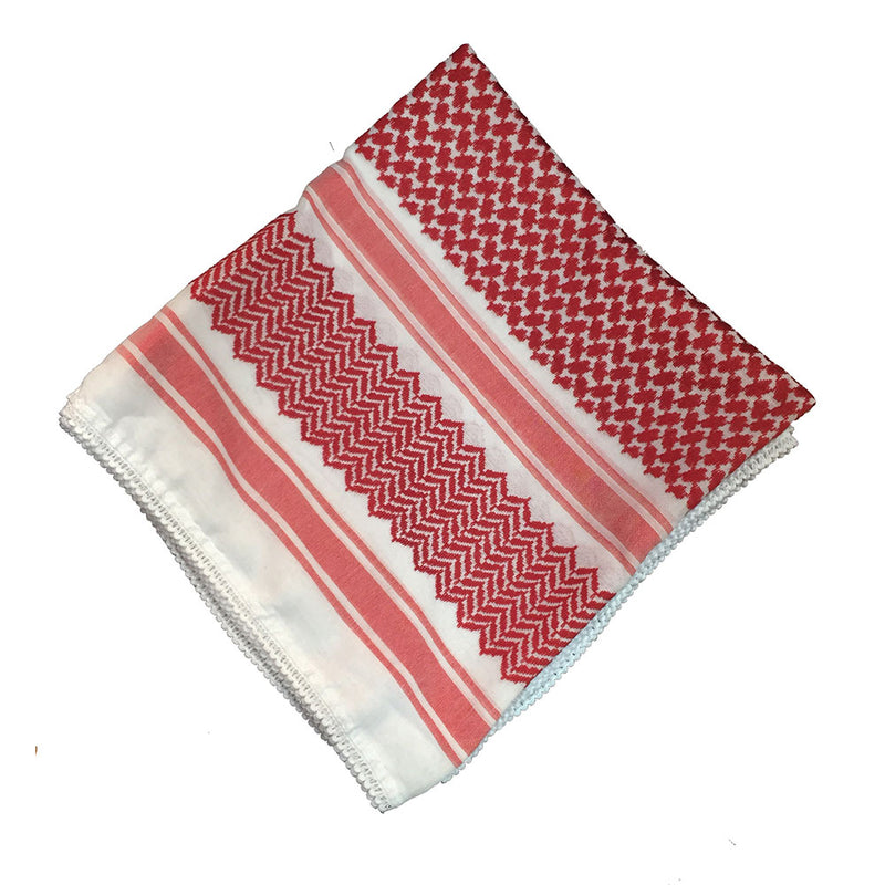 Red & White Keffiyeh/Shemagh (Head Cover) - Large Size (without Aqal)