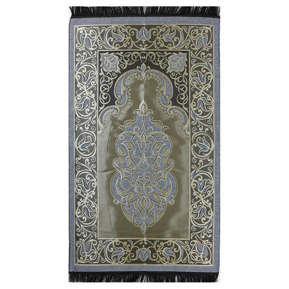 Taffeta Fleur Islamic Prayer Mat - Blue