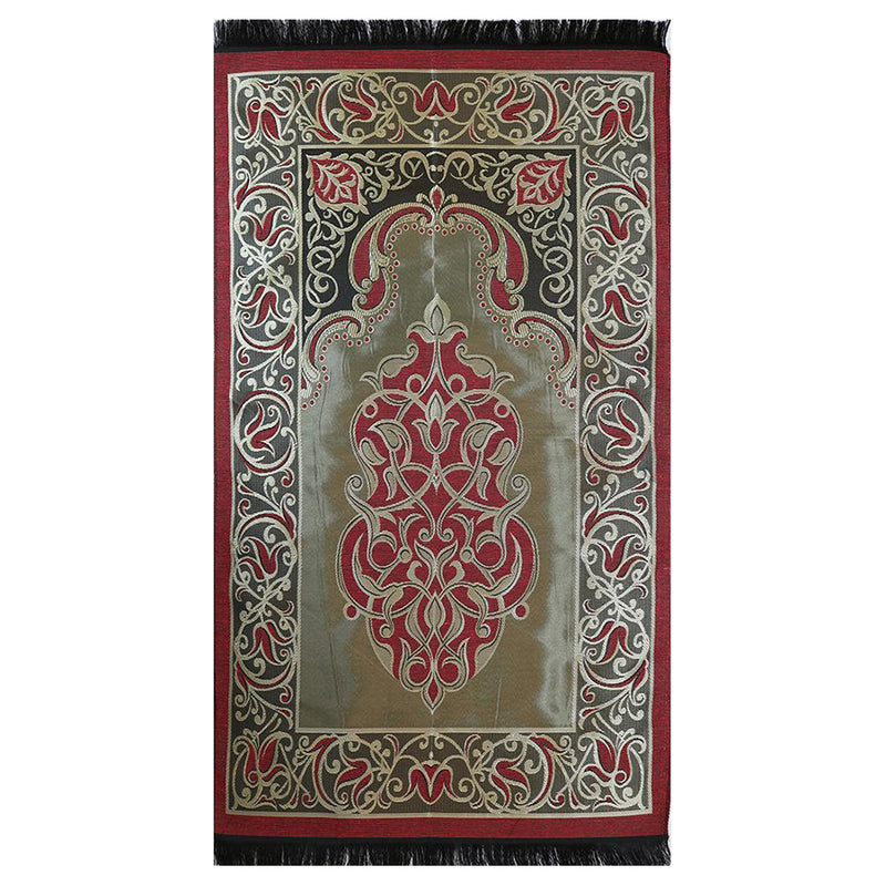 Taffeta Fleur Islamic Prayer Mat - Red