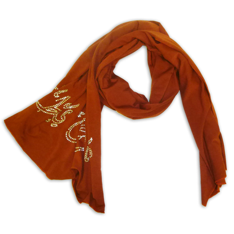 Women's Scarf Wrap Shawl with Arabic Letters Strass Design