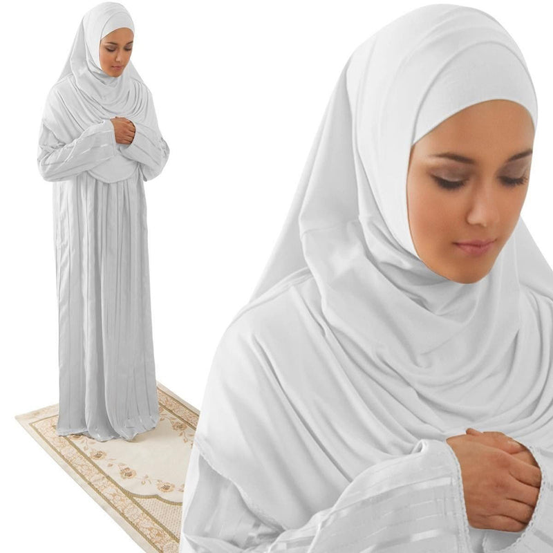 Amade Women's One-Piece Prayer Dress White Abaya Gift Set