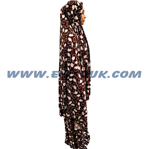 Women's Prayer Dress 2 Pieces (Without Sleeves) - Brown and White Circles Print