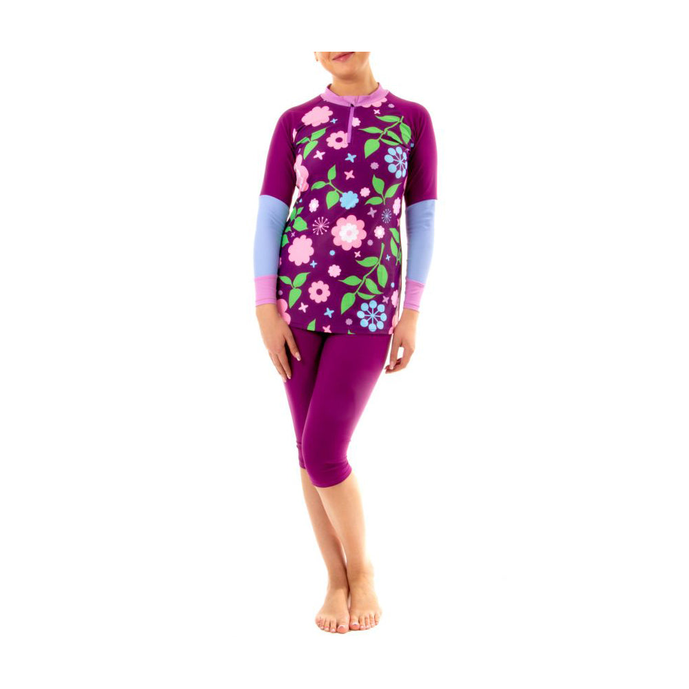 Veilkini Rash Guard Set for Girl (Vinous)