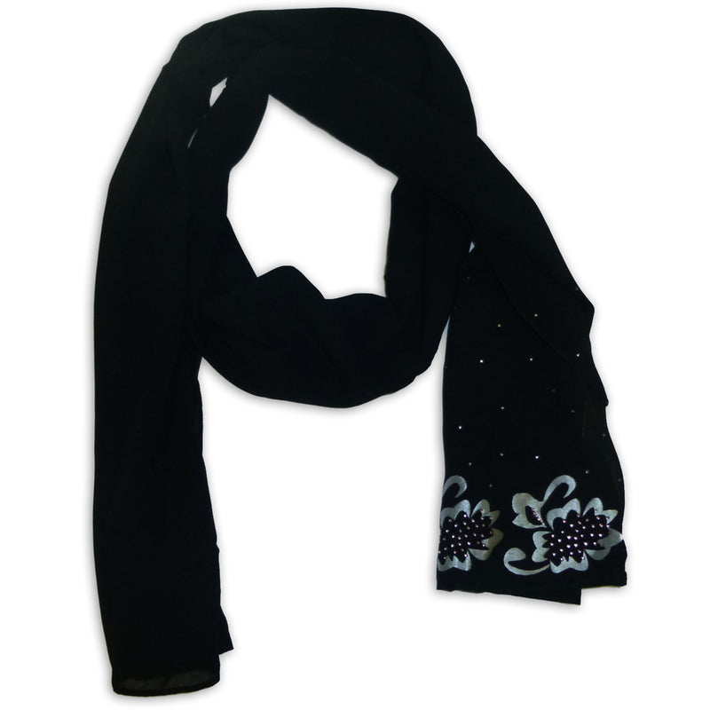 Women's Flower Design with Strass Scarf Wrap Shawl