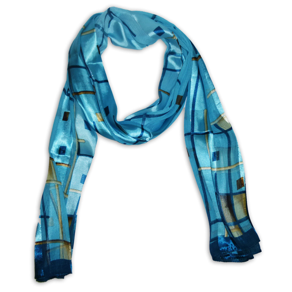 Women's Chiffon With Satin Stripes Scarf Wrap Shawl