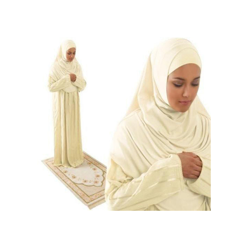 Amade Women's One-Piece Prayer Dress Creme Abaya Gift Set