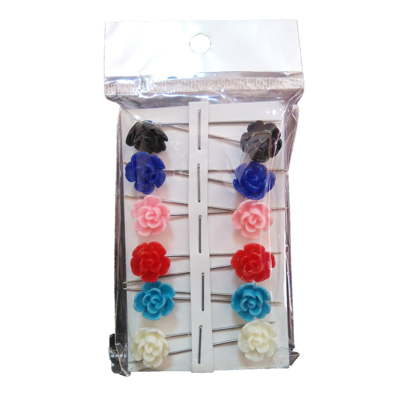 Flower Hijab Pins (set of 12 colorful pins)