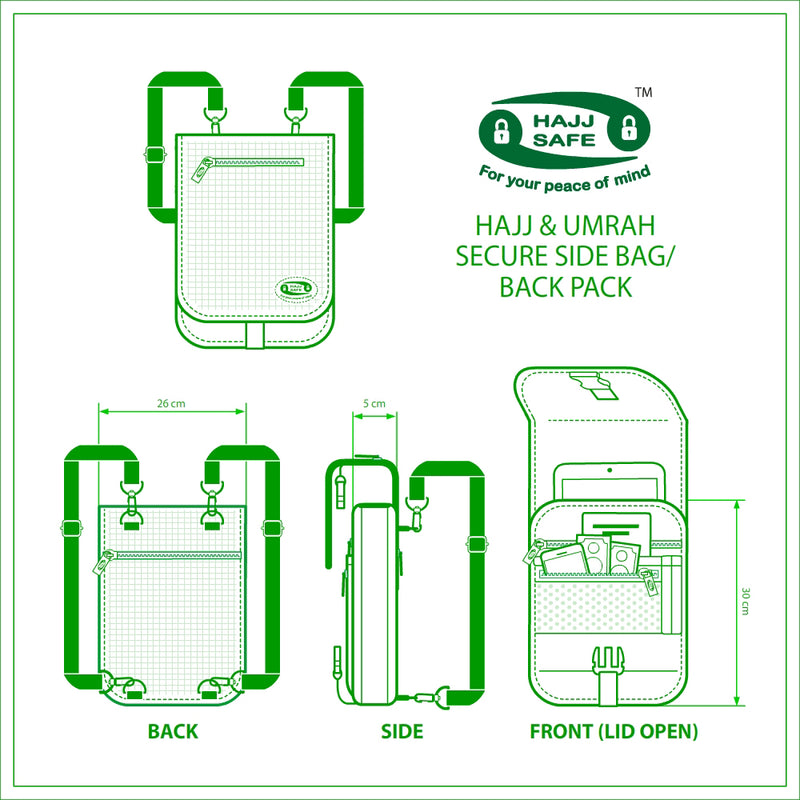 Hajj & Umrah Secure Side Bag and Back Pack