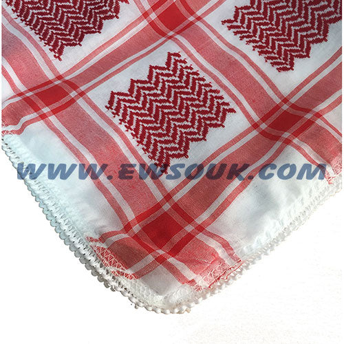 Red & White Keffiyeh/Shemagh (Head Cover) - Small Size (without Aqal)