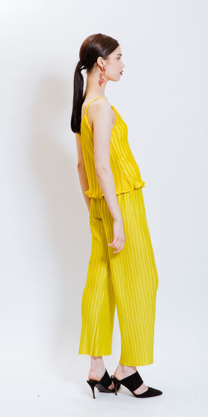 SARAH PLEATED PANTS - YELLOW
