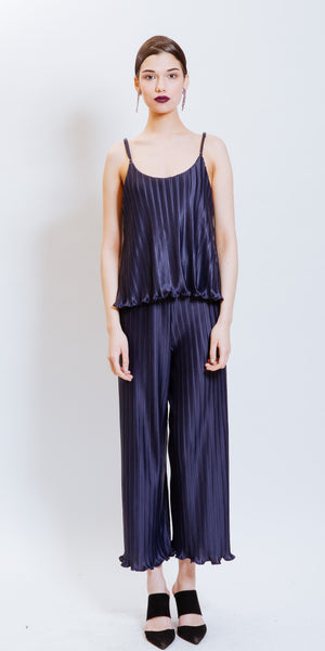 MADELYN PLEATED JUMPSUIT - NAVY