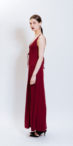 JESSICA LACED-UP DRESS - BURGUNDY
