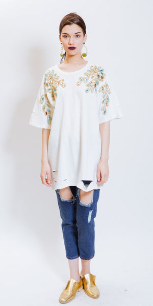 CORA EMBROIDERED TEE DRESS - WHITE